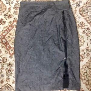 Express Gray Front Zipper Pencil Skirt Sz4